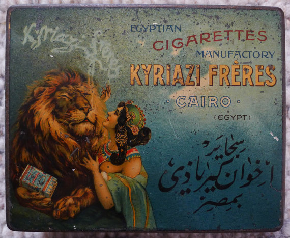 Rare vintage antique Egyptian Cigarette Tin Box by KYRIAZI FRERES manufactured at 1890 www.ideadeco.co