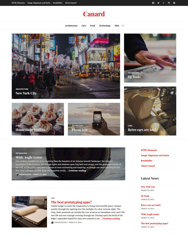 """Canard is a flexible and versatile theme perfect for magazines, news sites, and blogs. It lets you highlight specific articles on the homepage and balances readability with a powerful use of photography — all in a layout that works on any device."""