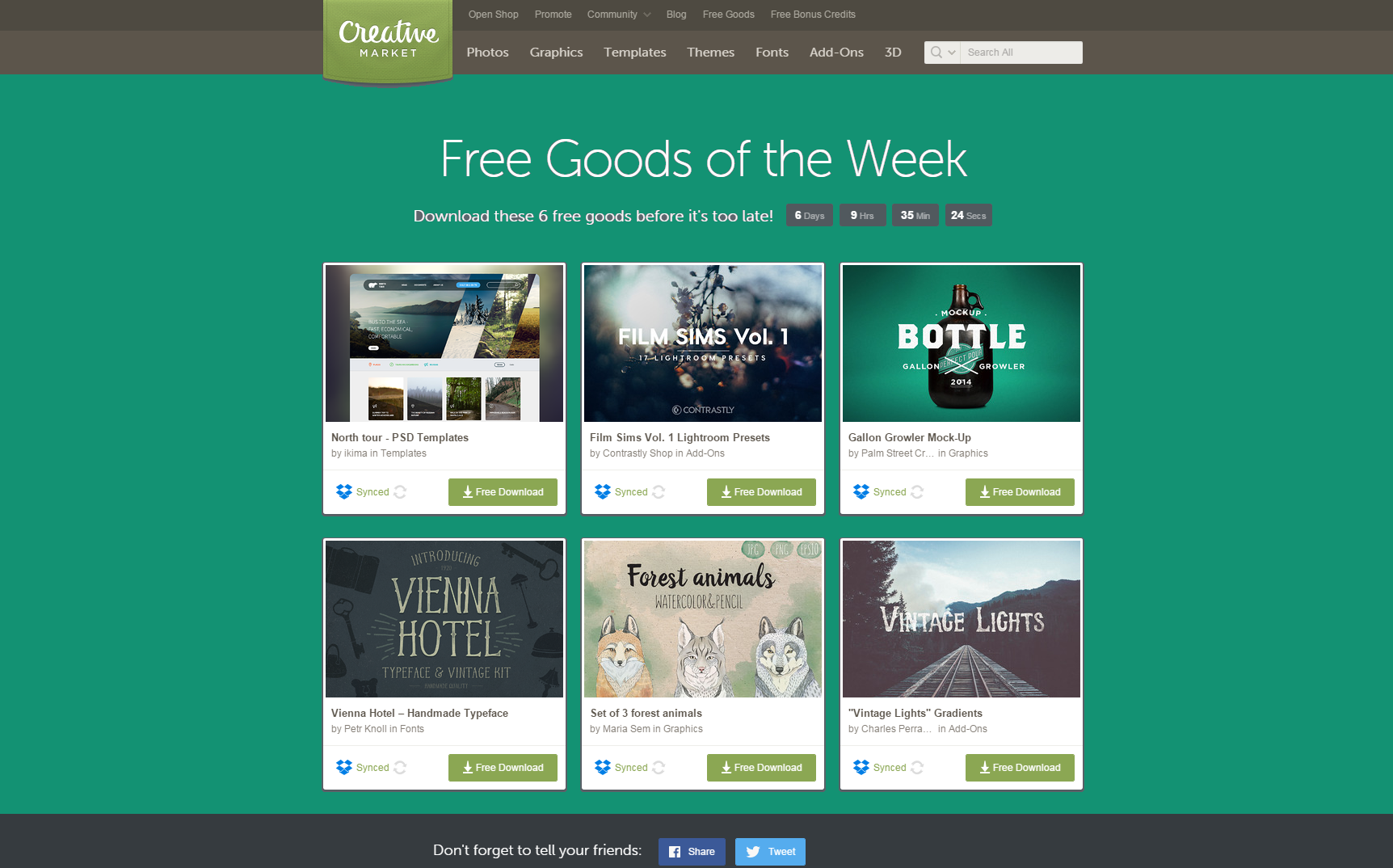 Free Goods of the Week by Creative Market. Download these 6 freebies until Sunday! Graphic Designer Happy Hour!