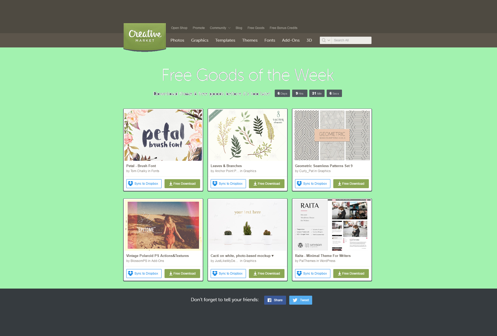 Free Goods of the Week by Creative Market. Download these 6 freebies until Sunday! Enjoy them!