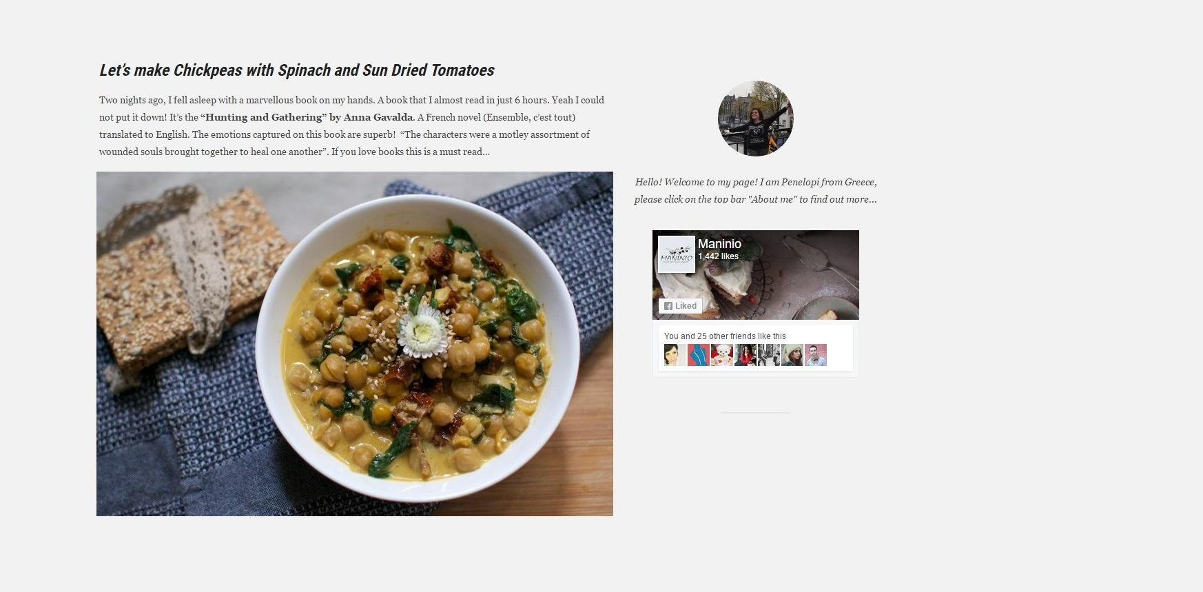 Let's make Chickpeas with Spinach and Sun Dried Tomatoes via Maninio.com