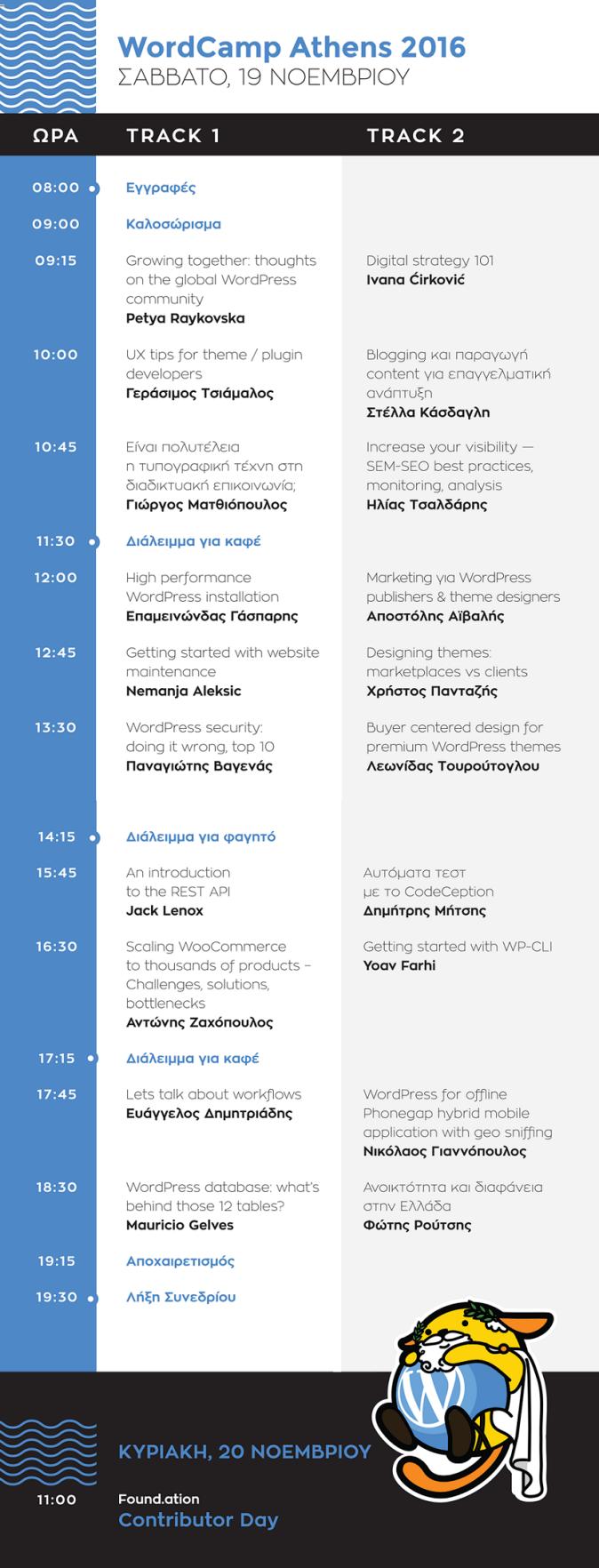 Το πρόγραμμα του WordCamp Athens