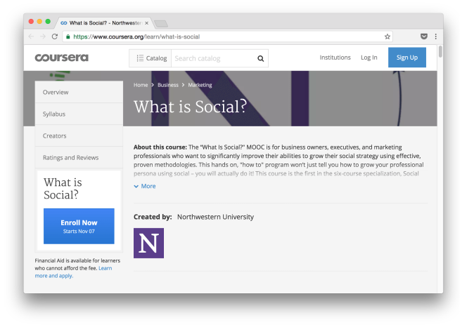 Coursera Free Online Courses: What is Social?