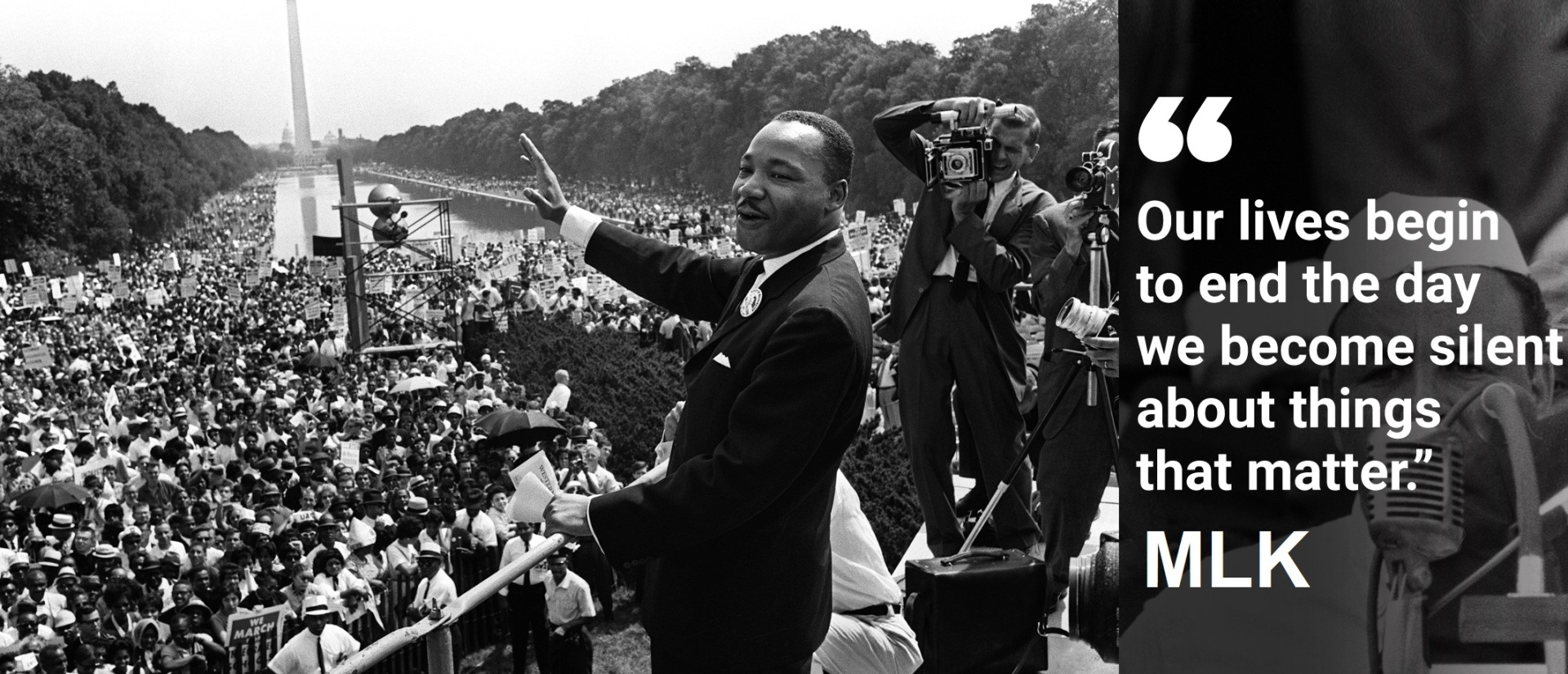 """The civil rights leader Martin Luther King waves to supporters 28 August 1963 on the Mall in Washington DC (Washington Monument in background) during the """"March on Washington"""". King said the march was """"the greatest demonstration of freedom in the history of the United States."""" Martin Luther King was assassinated on 04 April 1968 in Memphis, Tennessee. James Earl Ray confessed to shooting King and was sentenced to 99 years in prison. King's killing sent shock waves through American society at the time, and is still regarded as a landmark event in recent US history. AFP PHOTO (Photo credits: AFP/Getty Images)"""