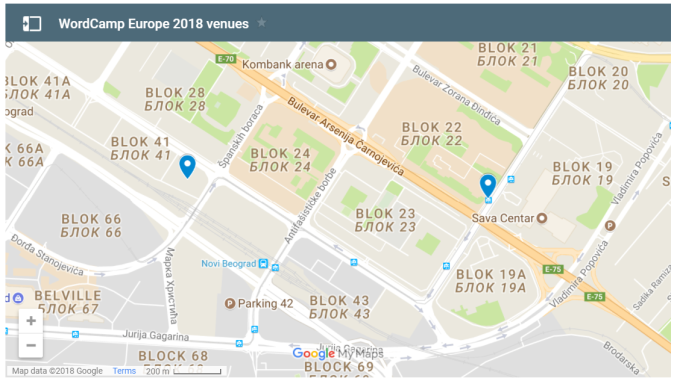 WordCamp Europe 2018 Serbia Venue Maps