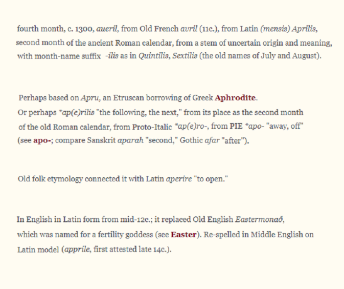April etymology from Etymonline