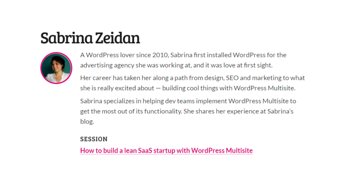 How to build a lean SaaS startup with WordPress Multisite y Sabrina Zeidan