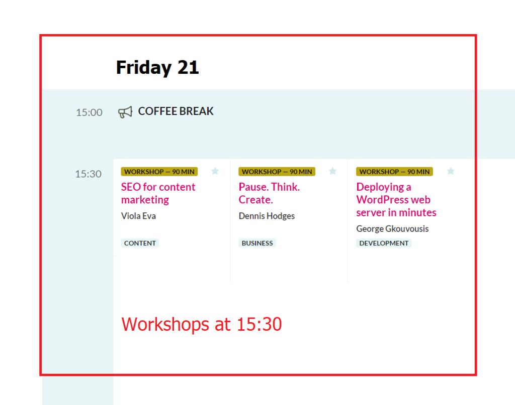 WordCamp Europe 2019 Workshops Friday 21 at 15.30
