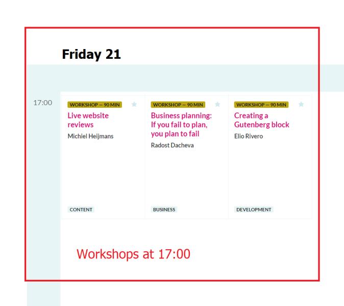 Wordcamp Europe 2019 Workshops Friday 21 at 17.00